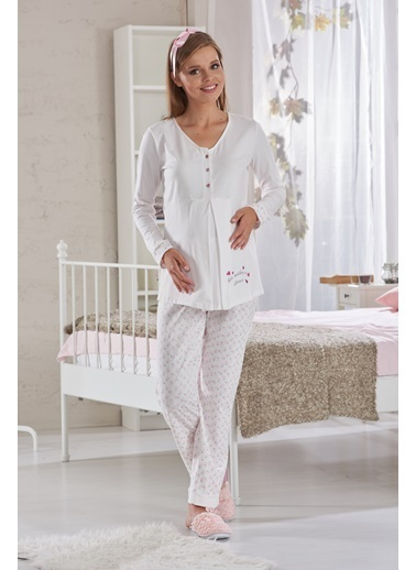 Sevim Nakışlı Lohusa Pijama Takımı Pembe
